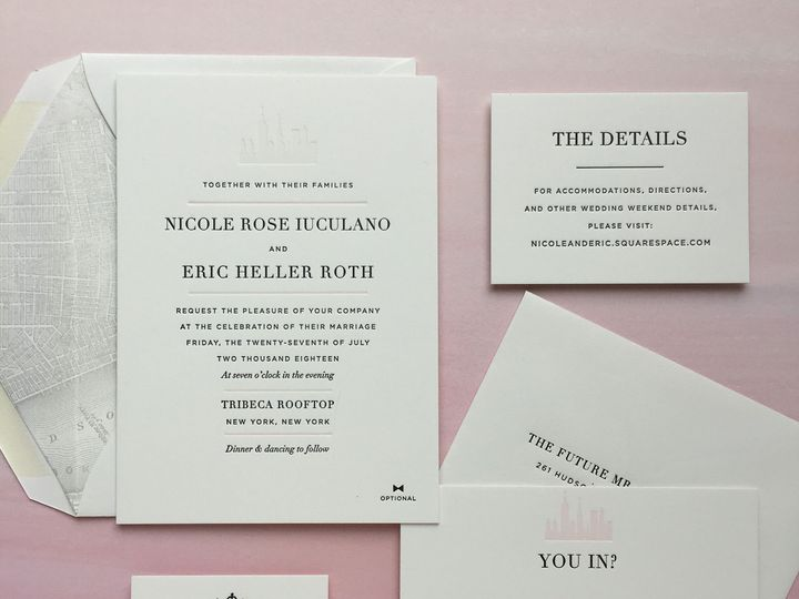 Tmx 1534451651 D6bff7c67c2fcf28 1534451649 4b19bde440656d8b 1534451648209 2 Hudson Nicole Iucu Brooklyn wedding invitation