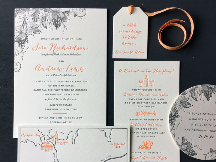 Tmx 1534452220 F98643fc4a4f5da9 1534452217 1a6dc493570df993 1534452215118 12 Hamptons Vineyard Brooklyn wedding invitation