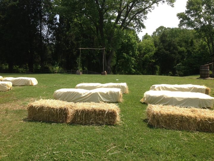 One example of a ceremony at Marble Springs, located in the historic area. Hay bales were brought in...