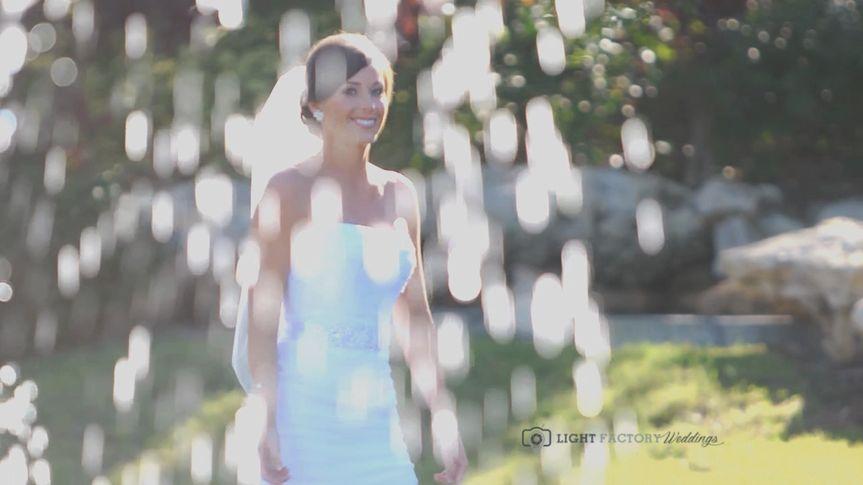 bride through fountain