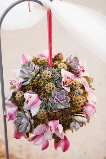 Succulent and orchid pomander at side of wedding aisle.  Photo by Jake Holt Photography.