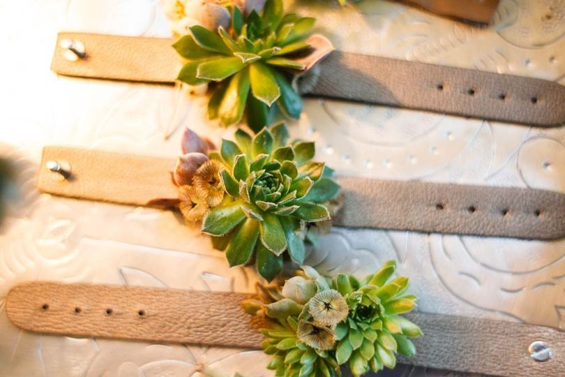 Succulent corsages for wedding in Austin, Texas. Photo by Jake Holt Photography.