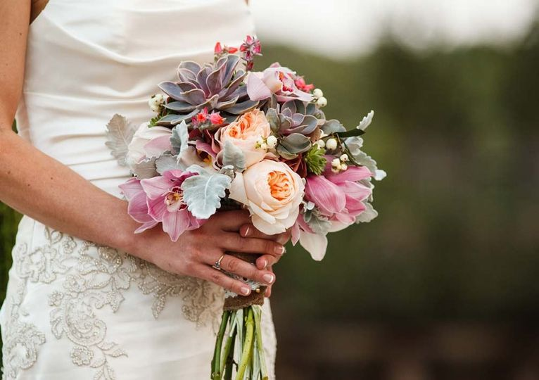 Succulent bouquet for outdoor wedding in Austin, TX. Photo by Jake Holt Photography.