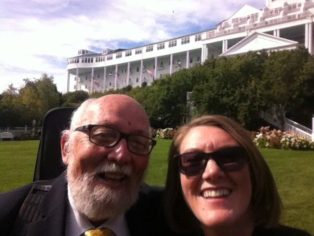 With Marti Davis (wedding coordinator) at the Grand Hotel on Mackinac Island, MI