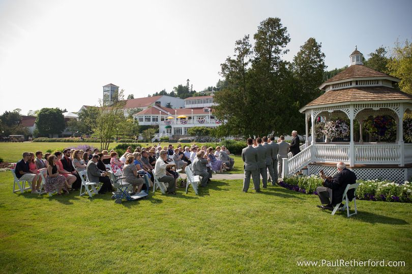 Playing a ceremony at Mission Point Resort on Mackinac Is., MI (You can just see me on the right)