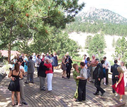 Dancing at Black Canyon Inn in Estes Park CO.  Intimate wedding with about 35 people.