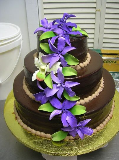 With Cascading Sugar Flowers