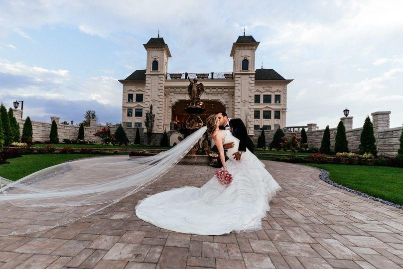 Kissing outside the castle