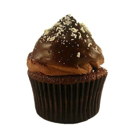 Black Friday Snow Day cupcake: chocolate cupcake filled with semi-sweet chocolate mousse topped with...