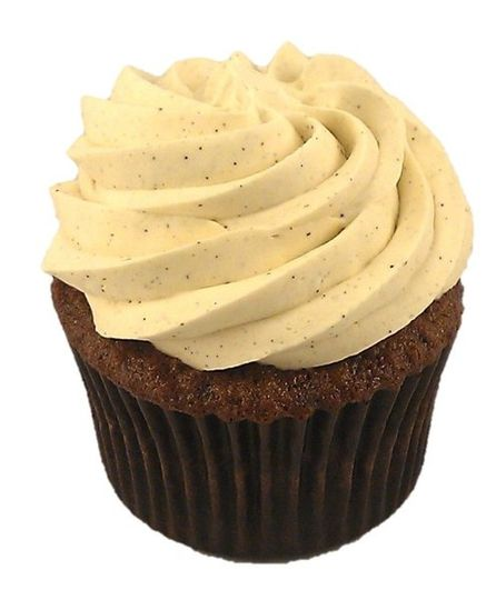 French Chocolate cupcake with Vanilla Bean Meringue Buttercream frosting