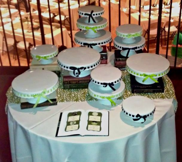 Stand Setup for Cupcake Display  The bride wanted multiple tiers of varying heights, so individual...