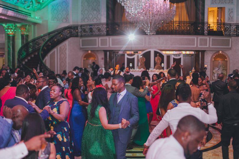 Guests dancing in elegant venue
