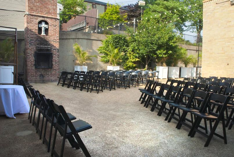 Ceremony setup in courtyard