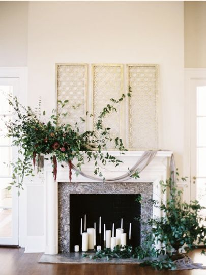 By the fireplace