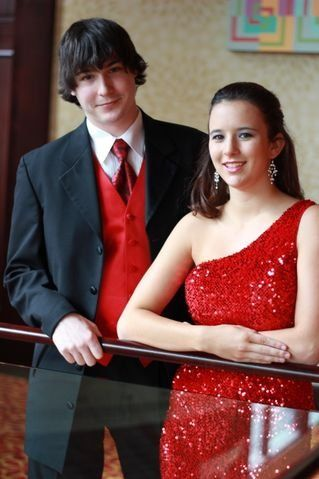 Beautiful red dress with matching vest and tie