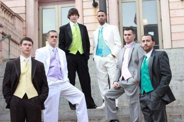 Black, Gray, White, Ivory, Charcoal tuxedos with colored vest and ties