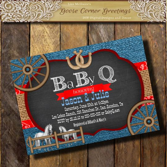 enim BABY-Q Invitation BURLAP Chalkboard Red Blue Baby Shower Western invitations Horeses Wagon...