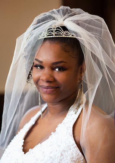 bridal portrait african american smile veil beauti