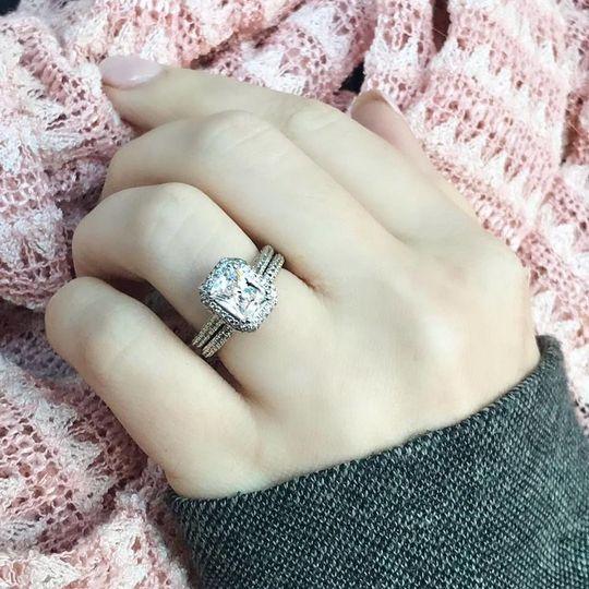 GORGEOUS Radiant cut halo diamond engagement ring and wedding band