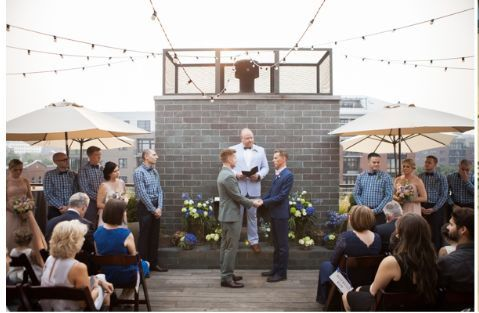 Ceremony in front of the fireplace on the Rooftop Terrace