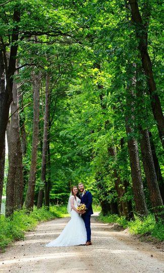 Couple surrounding trees