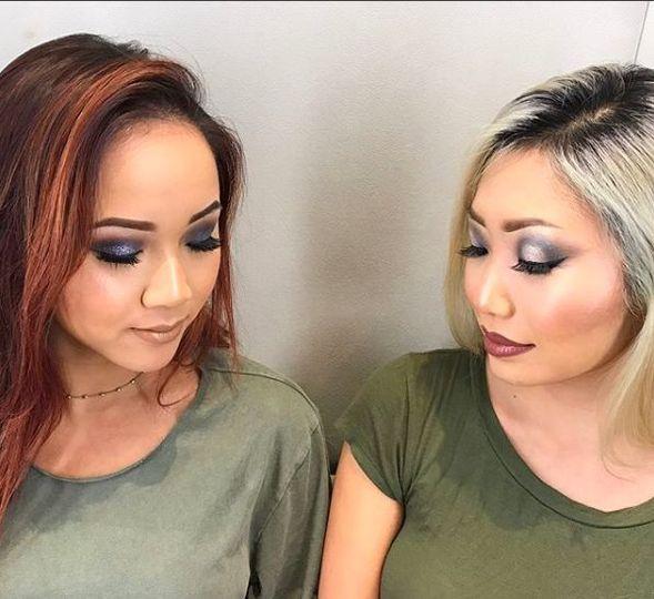 Eye makeup and lash work