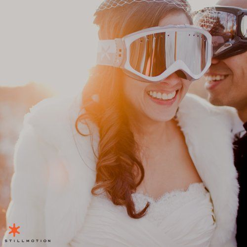 Bride and Grooms often ski on their wedding day or as part of the rehersal dinner or next-day...