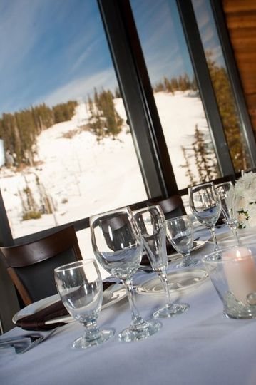 View of the head table, and panoramic windows.