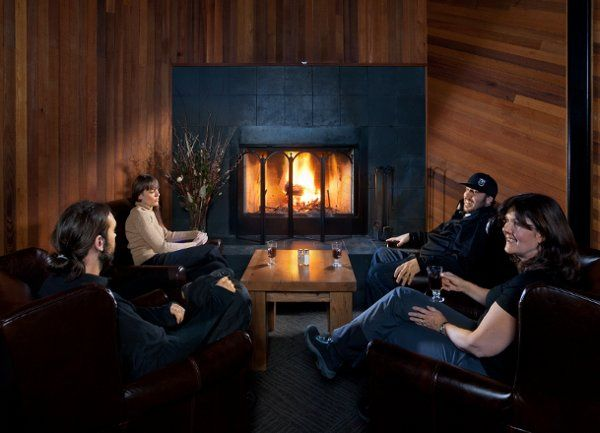 Relaxing by the fire in the Vertical North Ballroom.