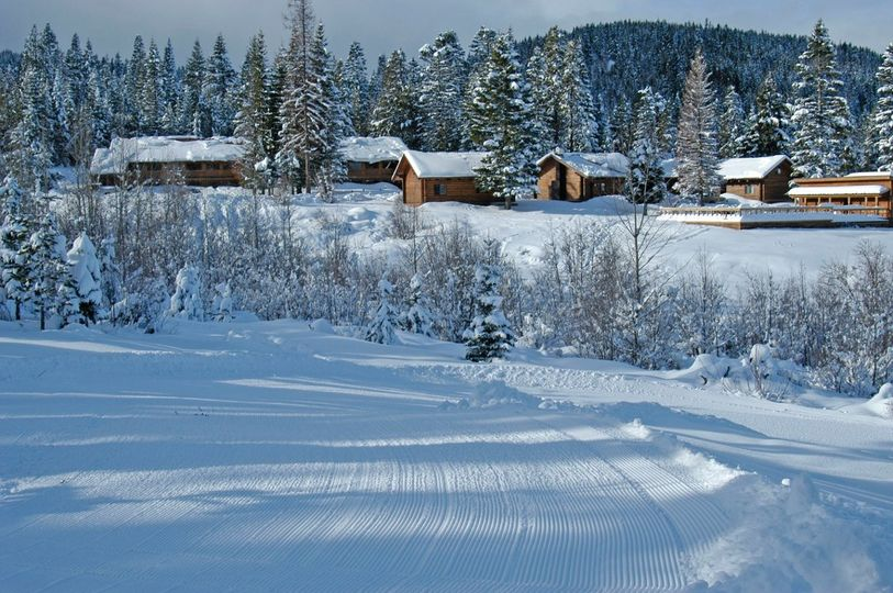Snowy view of the guest accomodations.
