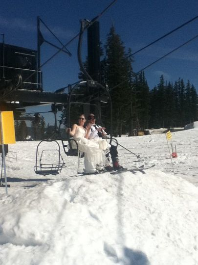 First moments as husband and wife on the chair lift.