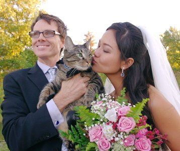 This delightful couple brought their cat in a bow tie to be their witness for their wedding at the...