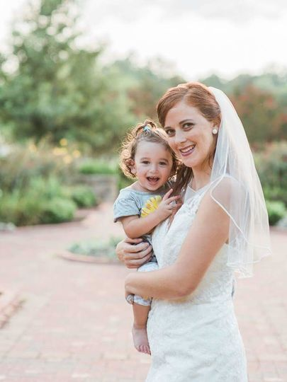 Bride and her little girl