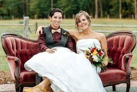 Newlyweds on the chaise lounge