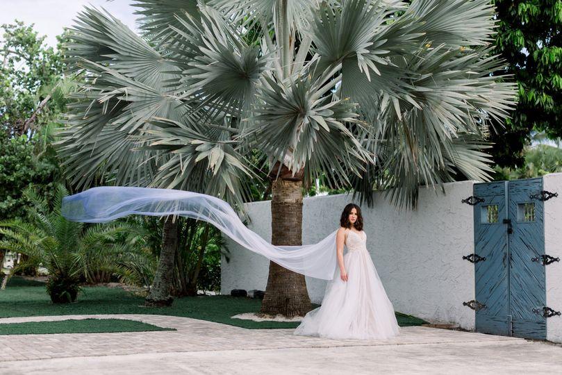 Blue Ombre Bridal Cape Veil