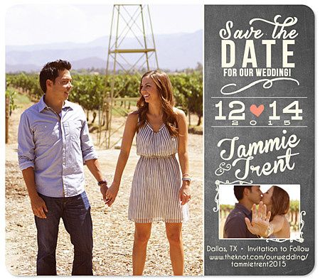 chalk save the date magnet two photo