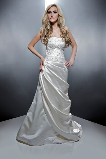 Victoria  Elizabeth silk satin. Trumpet gown. Strapless dropped waist hand embroidered and crystal...