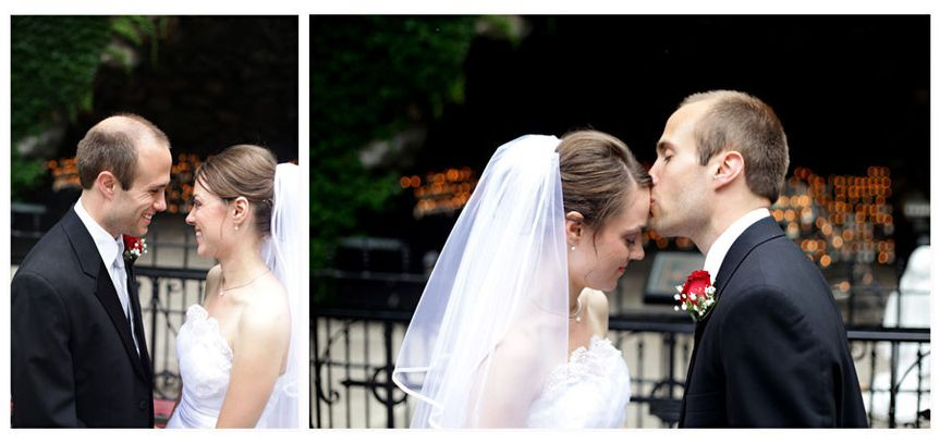 Beautiful bride and groom portraits taken at the Grotto on the campus of Notre Dame.