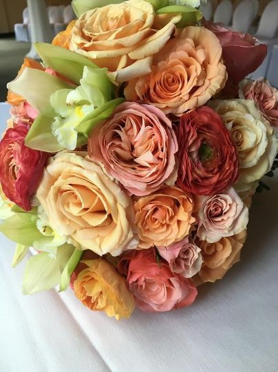 Orange and blush arrangement
