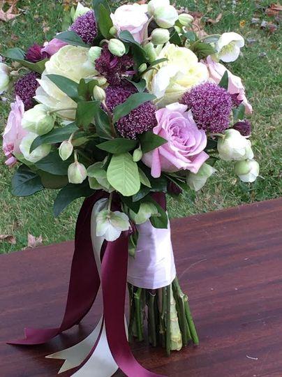 Violet, pink, and white arrangement