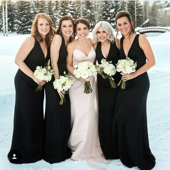 Winter bride and bridesmaids