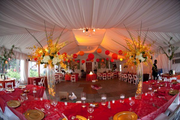 Asian inspired decor under the tent on the terrace.