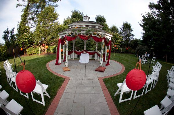 Beautiful Asian inspired decor graces the Gazebo for a summer wedding.