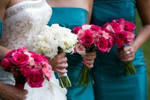 White Hydrangea, pink Gerbera Daisies, Bear grass