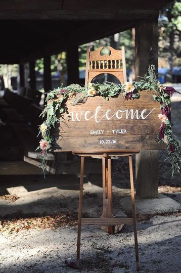 Large welcome/entry sign that can stand a lone or be dressed up with drapery matching your specific...