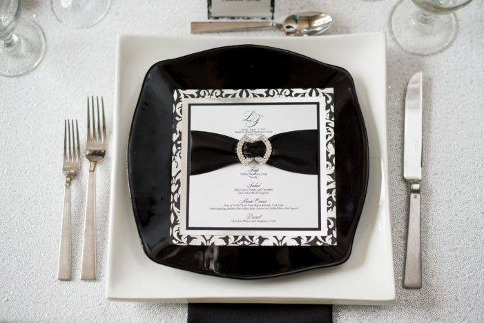 Custom four layer menu finished with double satin ribbon and rhinestone buckle