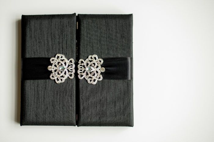 Custom box invitation finished double satin ribbon and rhinestone buckle