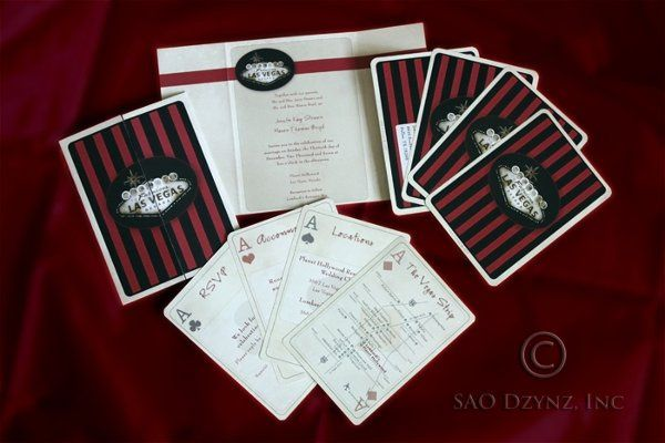 "Custom designed Las Vegas themed Wedding Invitation with ""4 Aces"" as Inserts  Like what you see?..."