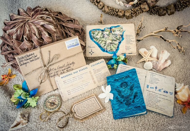 Destination Wedding Invitation Kit - complete with compass, luggage tag, airplane ticket, passport,...