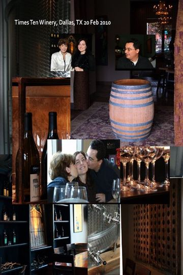 Montage of Times Ten Cellar, Dallas TX. Wine tasting in preparation for ceremony.